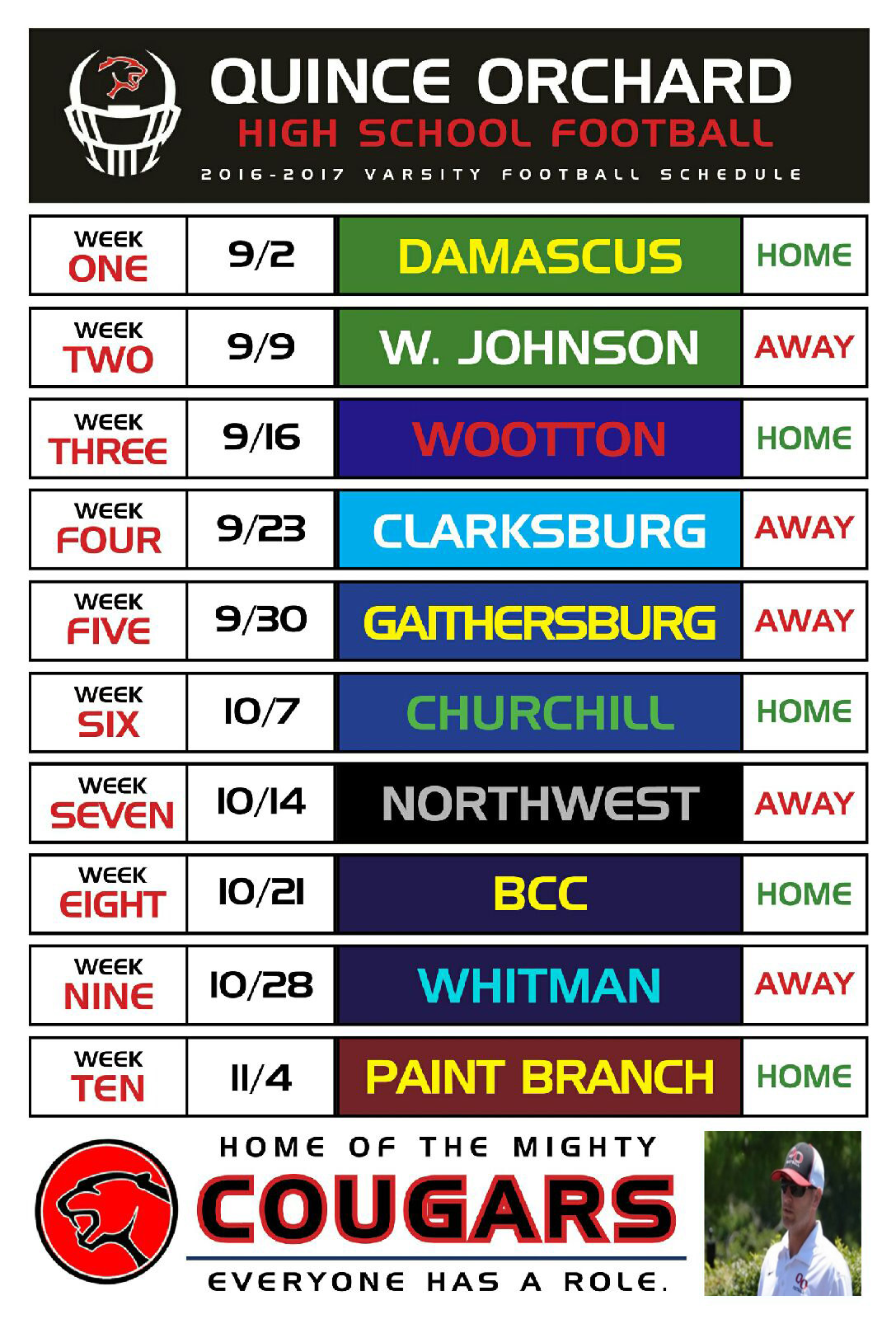 QO Football Schedule