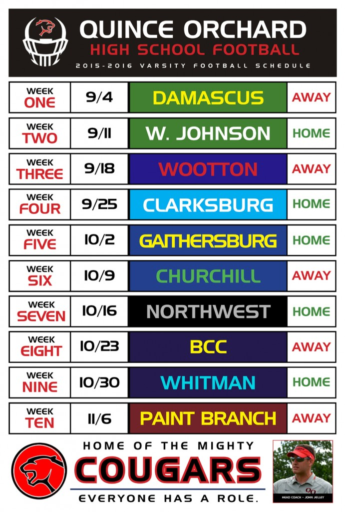 Quince Orchard High School Football Schedule