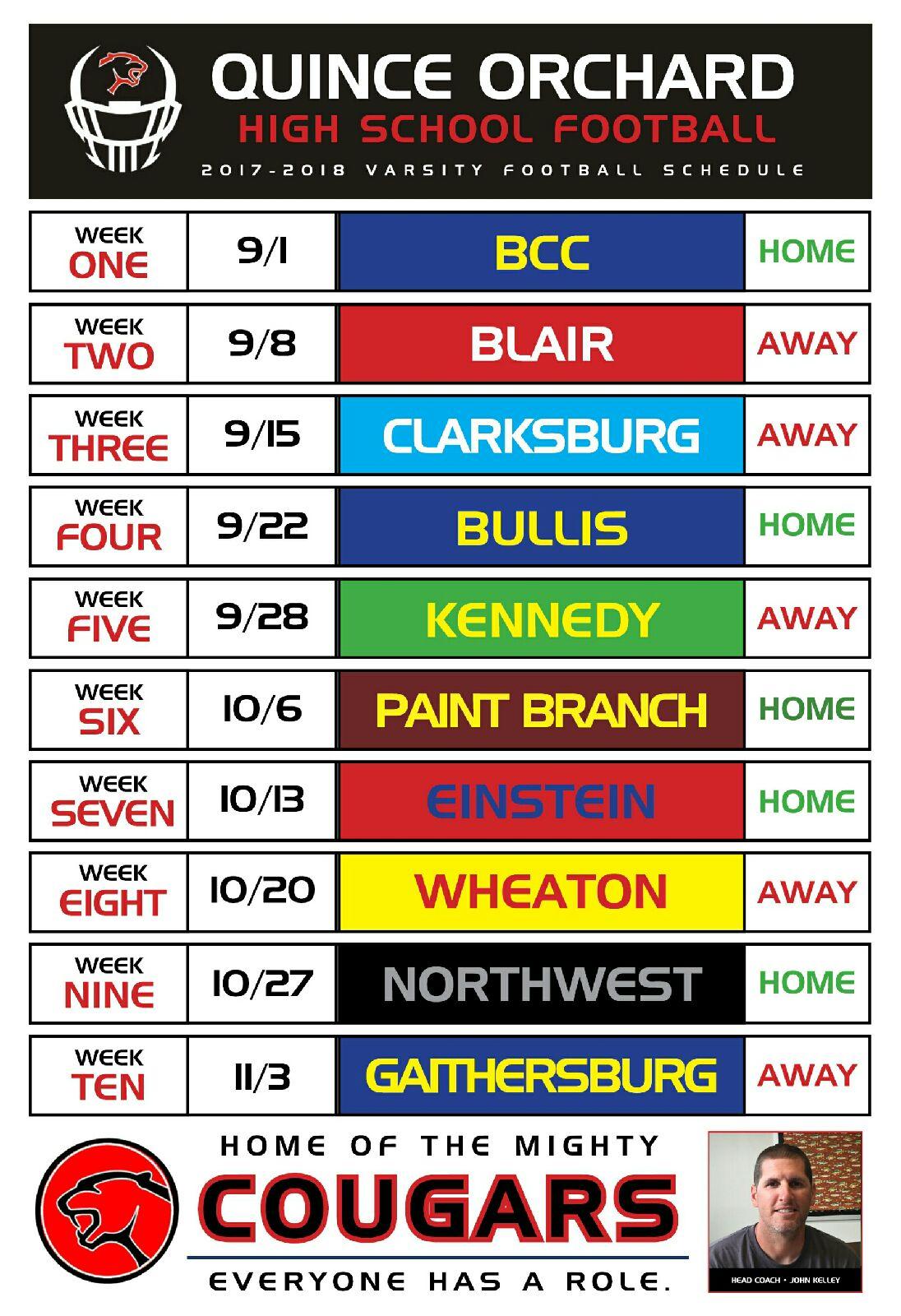 Varsity 2017 Schedule