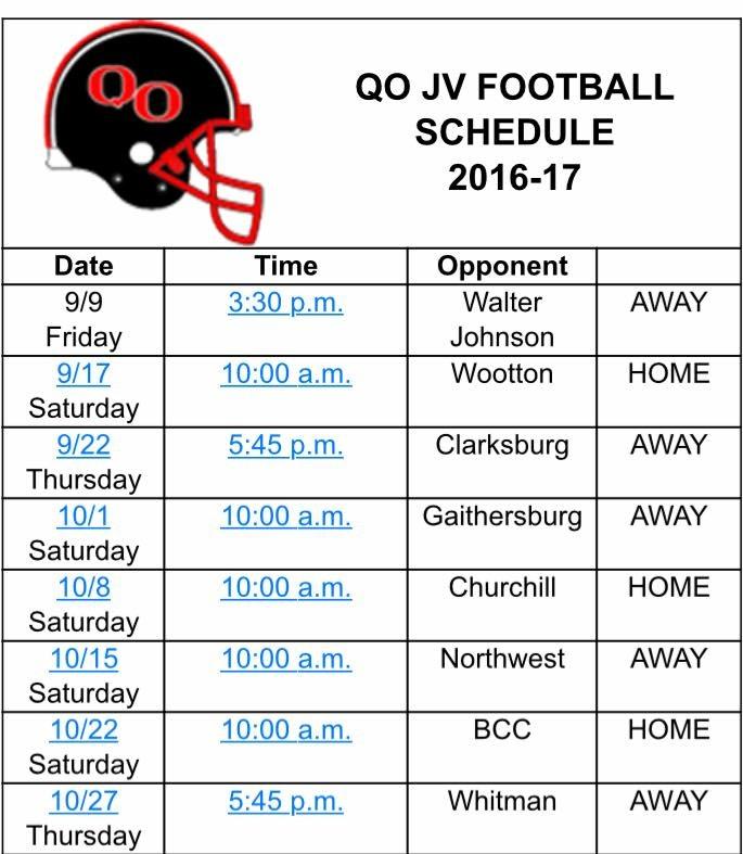 2016 JV Schedule